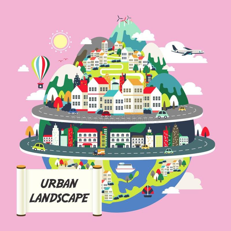 Płaski projekt dla miastowego krajobrazu ilustracji