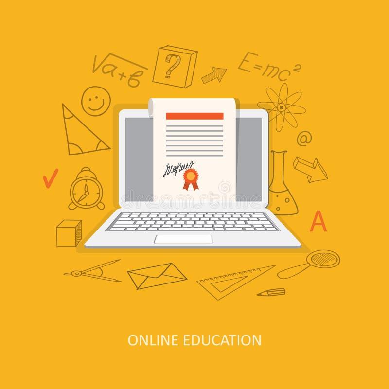 Płaski projekt dla online edukaci ilustracji