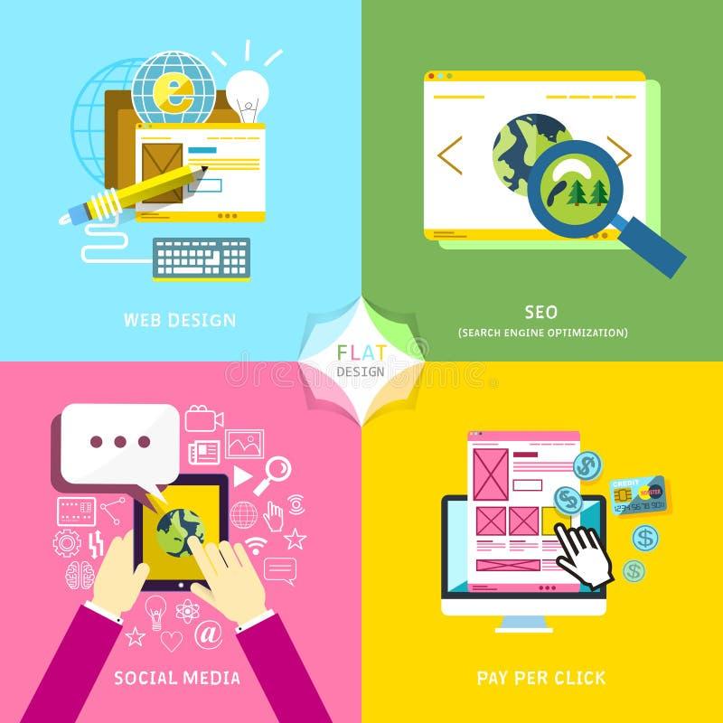 Płaski projekt dla wiszącej ozdoby usługa i sieć marketingu royalty ilustracja