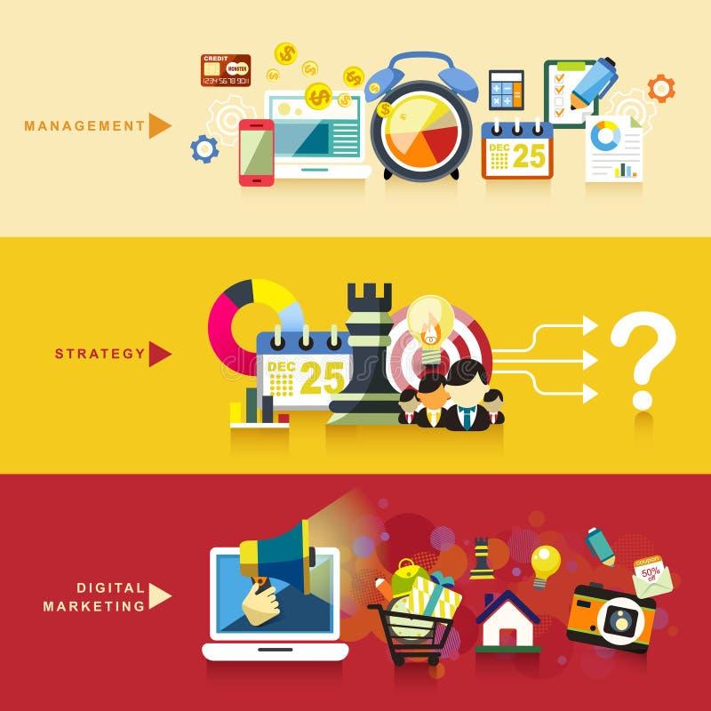 Płaski projekt dla zarządzania, strategii i cyfrowego marketingu, royalty ilustracja