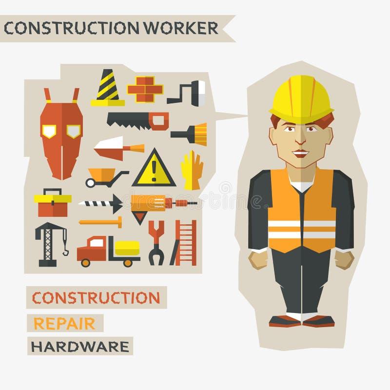 Płaski projekt Freelance infographic Pracownik budowlany z narzędziami i materiałami dla budowy i naprawy ilustracji