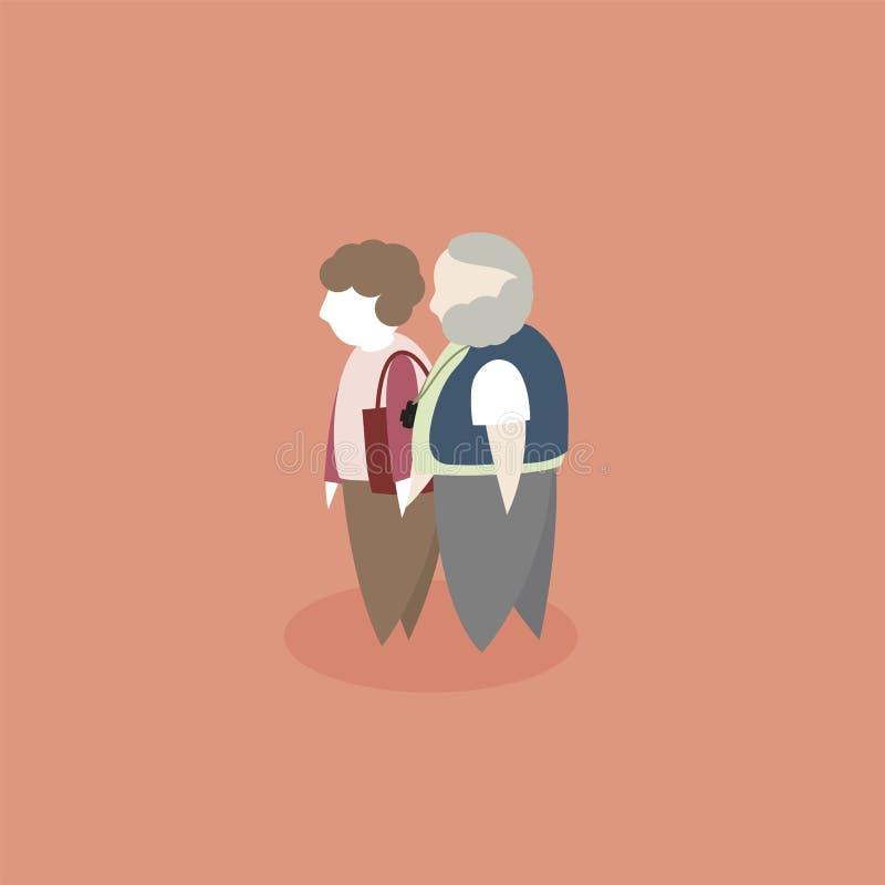 Płaski projekt gruby kędzierzawego włosy starszej osoby pary charakter obrazy royalty free