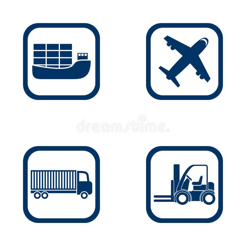 Płaski projekt ikon eksporta importa set ilustracji