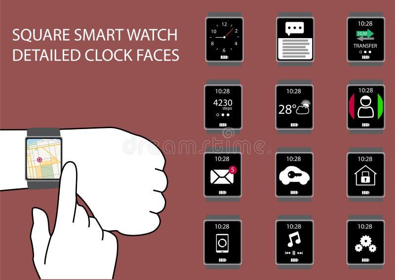 Płaski projekt infographic z mądrze zegarek ikonami ilustracja wektor