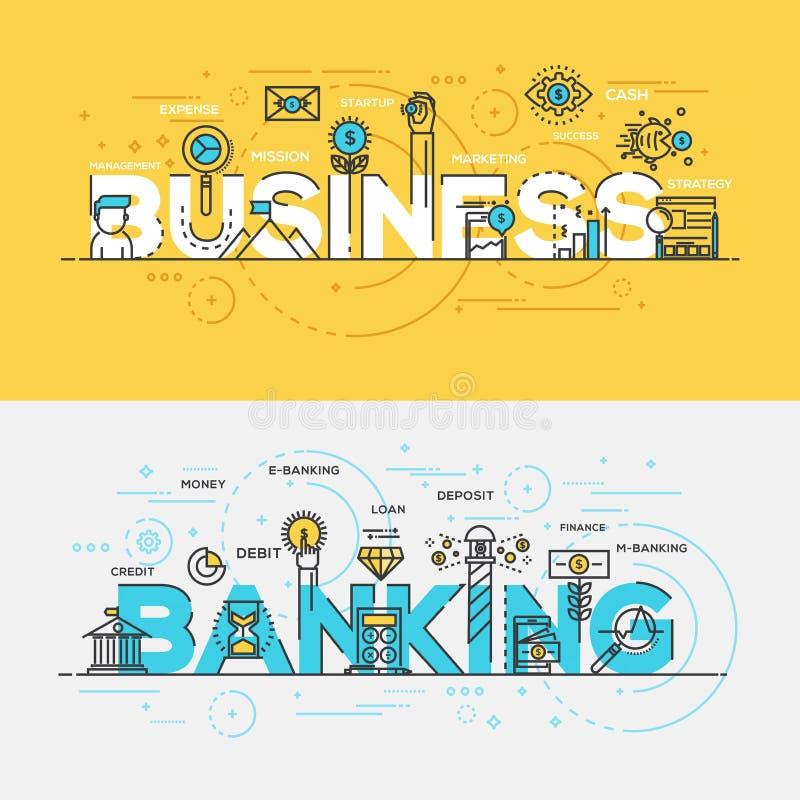 Płaski projekt linii pojęcia sztandaru biznes i bankowość ilustracja wektor