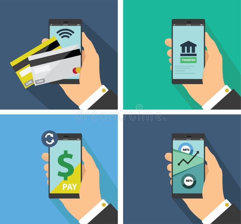 Płaski projekt mobilna płatnicza technologia royalty ilustracja