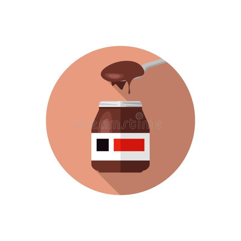 Płaski projekt Nutella na łyżce royalty ilustracja