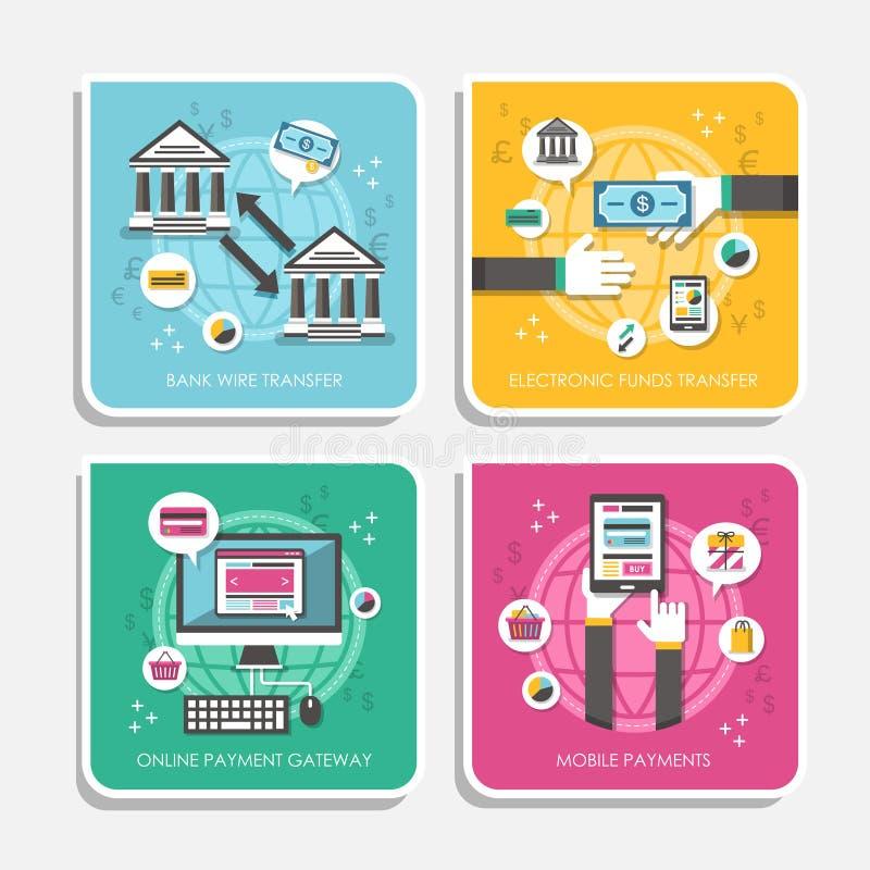 Płaski projekt online płatnicze metody ilustracja wektor