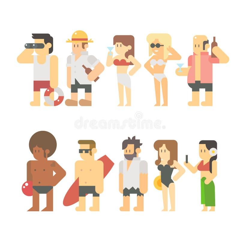 Płaski projekt plażowi ludzie ilustracja wektor
