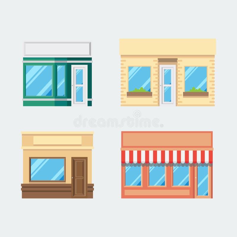 Płaski projekt przodu sklepu set ilustracji