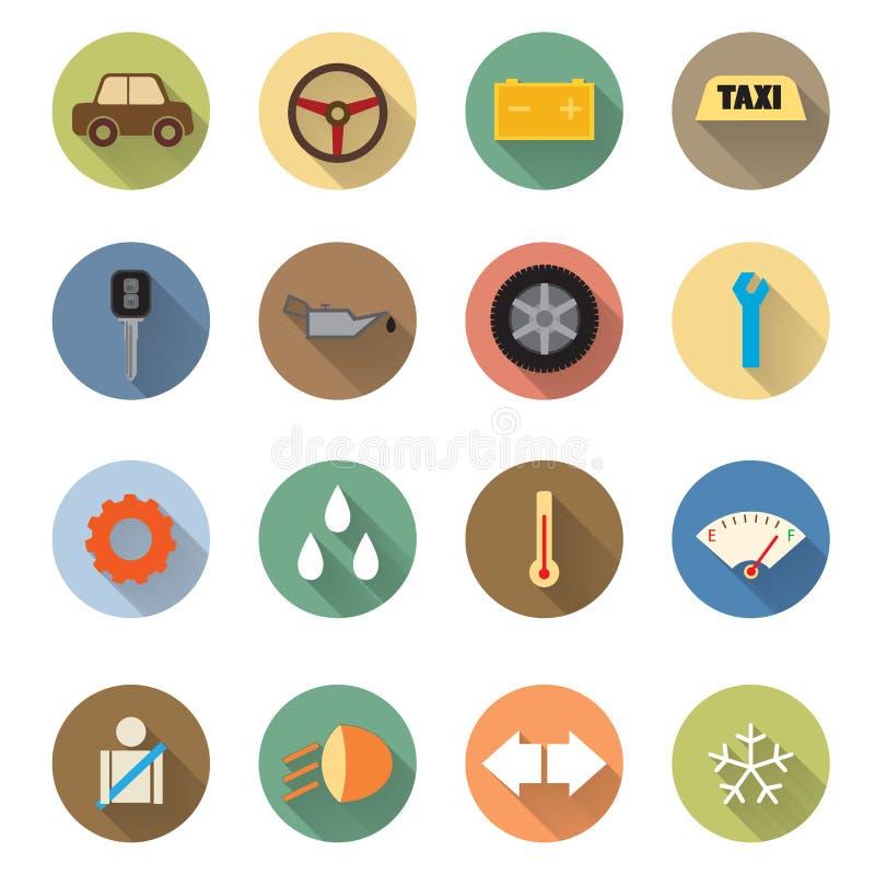 Płaski projekt samochód usługa ikony ustawiać ilustracja wektor