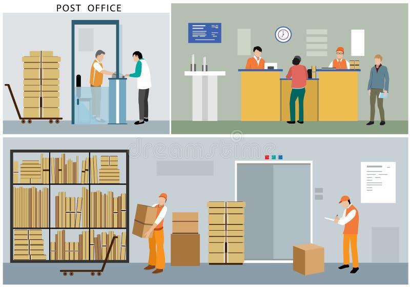Płaski projekt urząd pocztowy usługa: urzędnicy, listonosze, ludzie, wnętrze, akcje i aktywność, ilustracja wektor