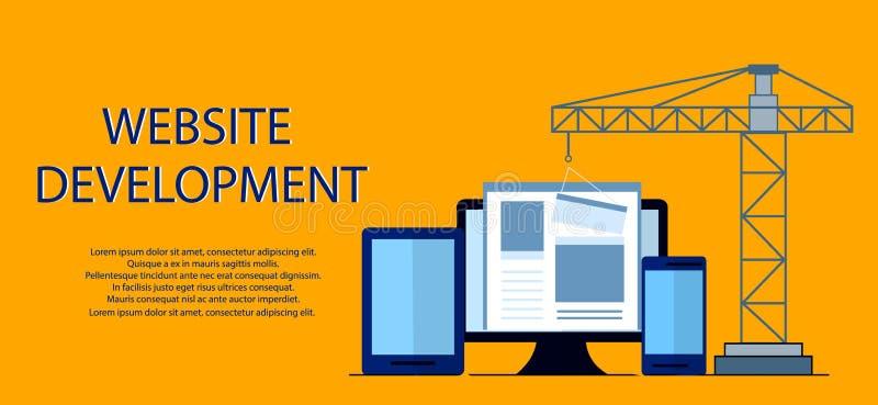 Płaski projekt w budowie strona internetowa, strona internetowa budynku proces, jest usytuowanym formularzowego układ sieć rozwój royalty ilustracja