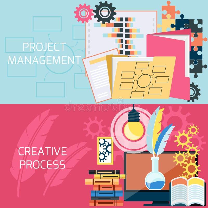 Płaski projekt zarządzanie projektem ilustracja wektor
