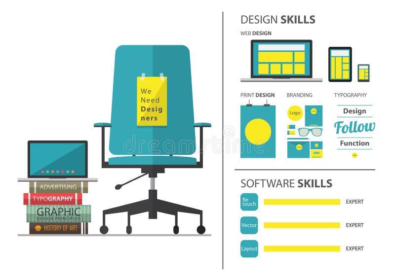 Płaski projekt zatrudnia dla projektant grafik komputerowych praca Życiorys i infographic element ilustracji
