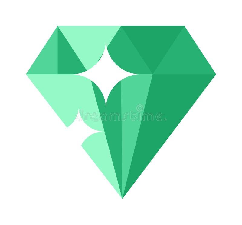 Płaski projekt Zielona gemstone ilustracja ilustracji