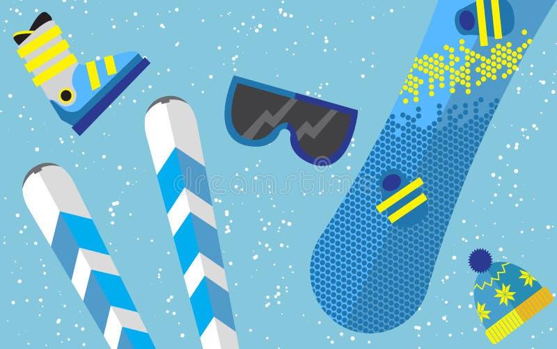 Płaski projekt zimy sporta pojęcie Sporta wyposażenia tło royalty ilustracja
