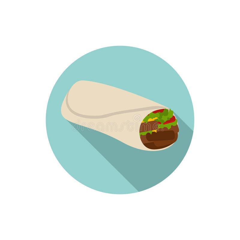 Płaski projekta Burrito royalty ilustracja