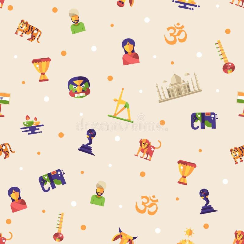 Płaski projekta India podróży wzór z sławnymi Indiańskimi symbol ikonami royalty ilustracja