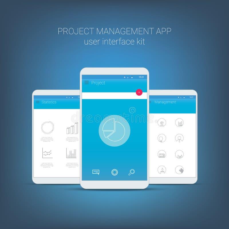 Płaski projekta interfejs użytkownika dla mądrze telefonu lub royalty ilustracja