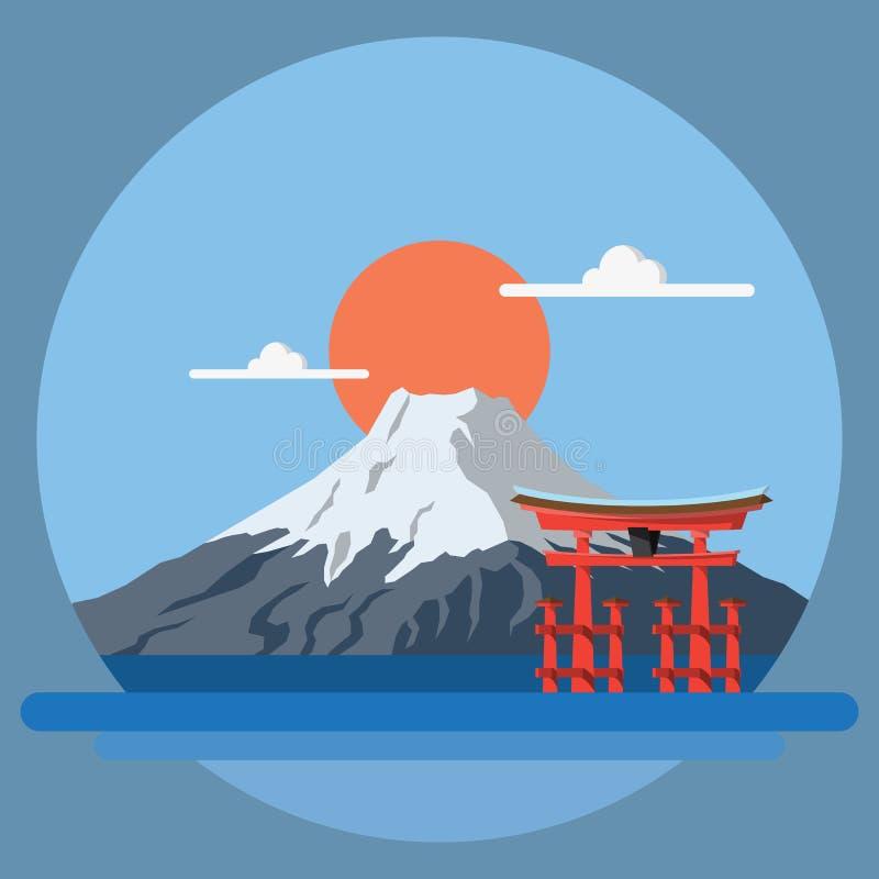Płaski projekta krajobraz Japonia zdjęcie stock