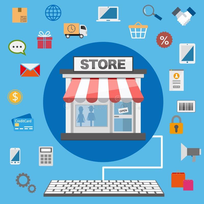 Płaski projekta online sklep ilustracja wektor