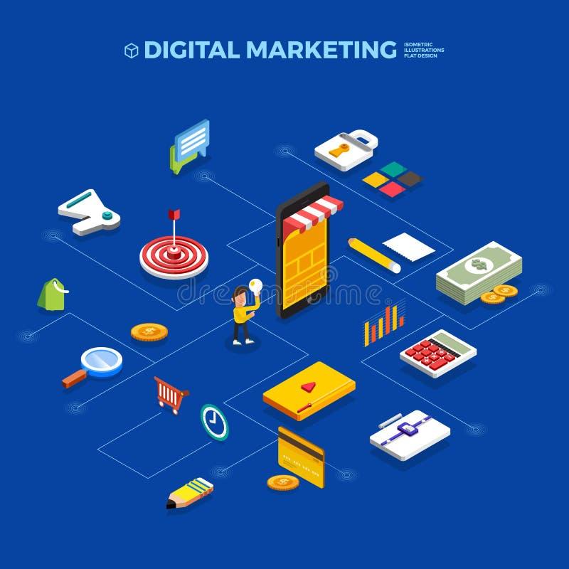 Płaski projekta pojęcia marketingu isometric cyfrowy przedmiot Wektor ja ilustracja wektor