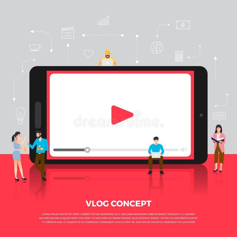 Płaski projekta pojęcia vlog Drużyna rozwija korytkowy wideo online Vec ilustracji