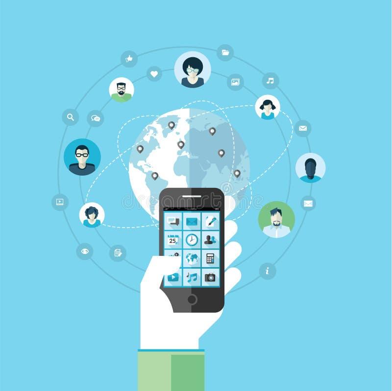 Płaski projekta pojęcie dla nowożytnych mądrze telefon komórkowy usługa, apps i royalty ilustracja