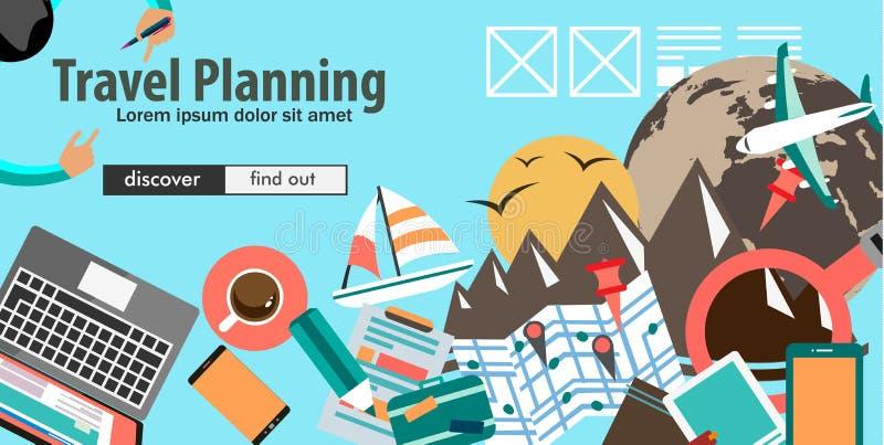 Płaski projekta pojęcie Dla podróży organizaci i wycieczki planowania ilustracji