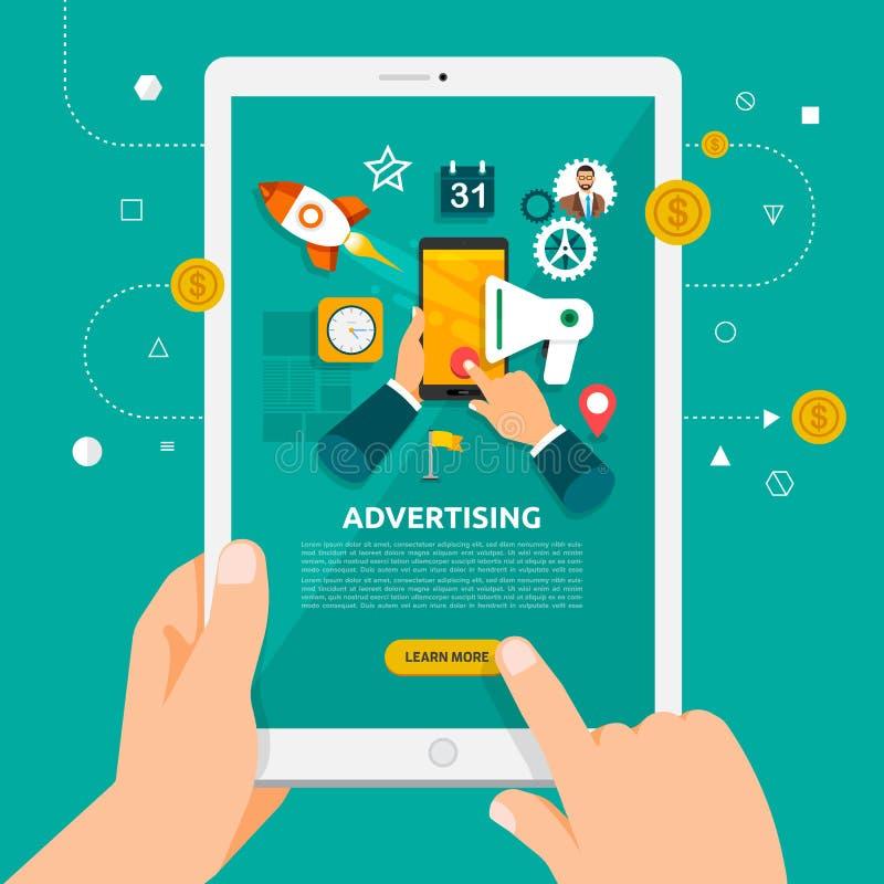 Płaski projekta pojęcie learnning o reklamować online z ręką ilustracja wektor