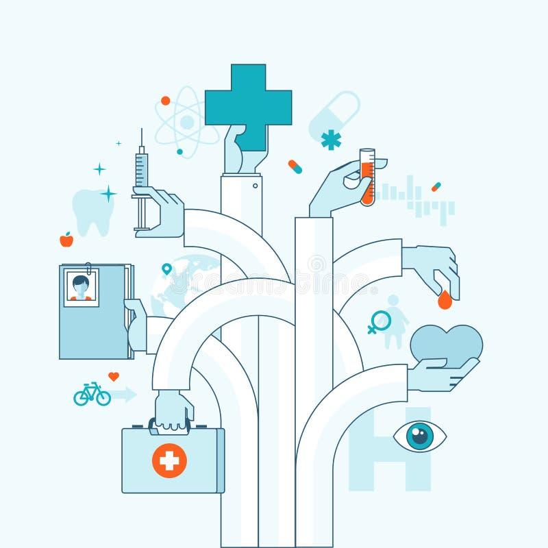 Płaski projekta pojęcie na medycyna temacie royalty ilustracja