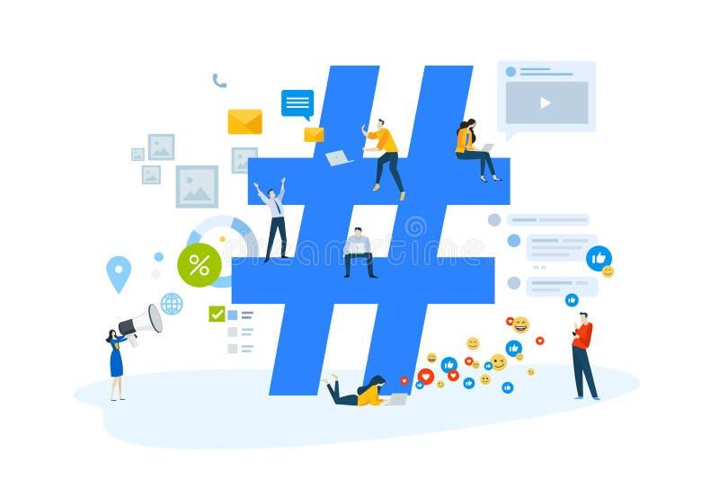 Płaski projekta pojęcie online komunikacja, ogólnospołeczna sieć, interneta marketing, hashtag, kampanie, reklamuje royalty ilustracja