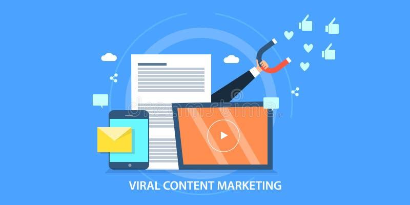 Płaski projekta pojęcie wirusowy marketing, przylatująca strategia, zadowolona promocja royalty ilustracja