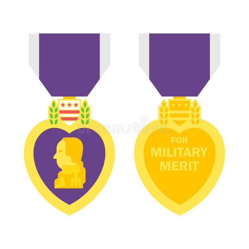 Płaski projekta purpurowego serca medal ilustracja wektor