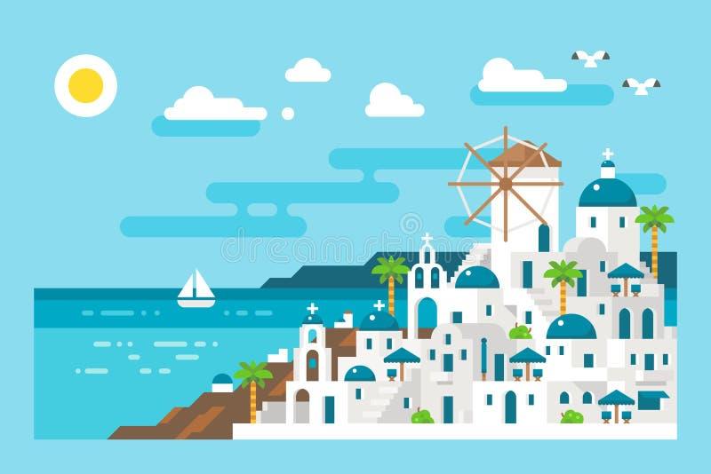 Płaski projekta santorini pejzażu miejskiego widok zdjęcia royalty free