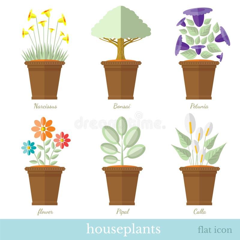 Płaski projekta set domowa roślina i kwiat z flowerpot setem ilustracja wektor