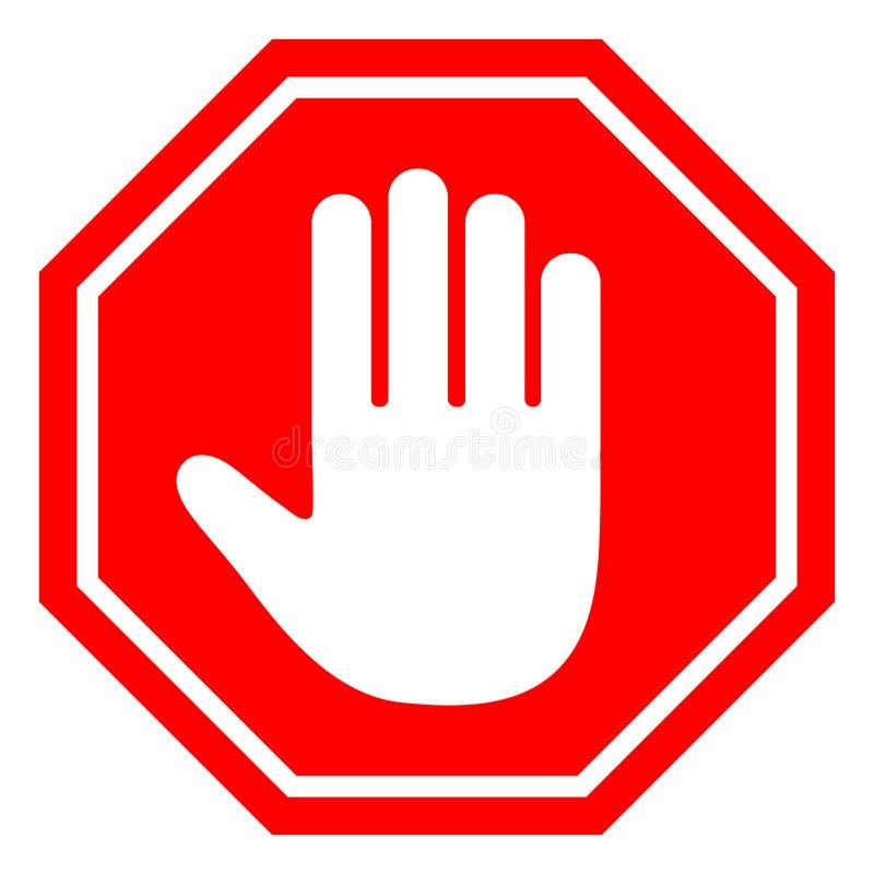 Płaski projekta styl No wchodzić do przerwy czerwieni znaka z ręką royalty ilustracja