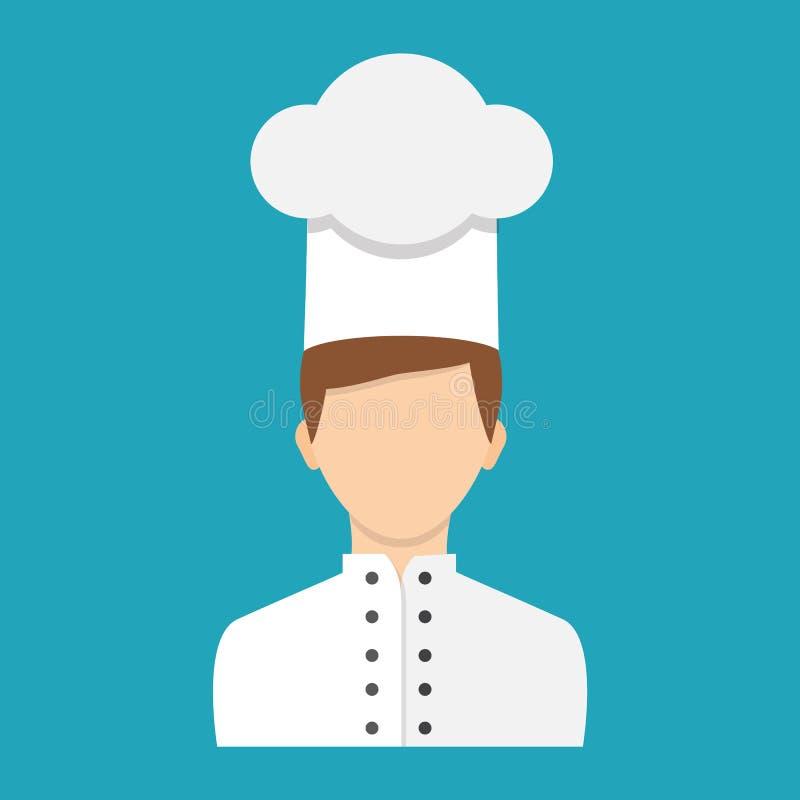 Płaski projekta styl również zwrócić corel ilustracji wektora Szefa kuchni charakter, ikona ilustracji