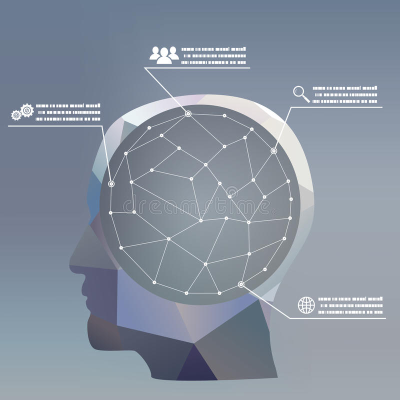 Płaski projekta stylu biznesmena headmind socjalny ilustracji