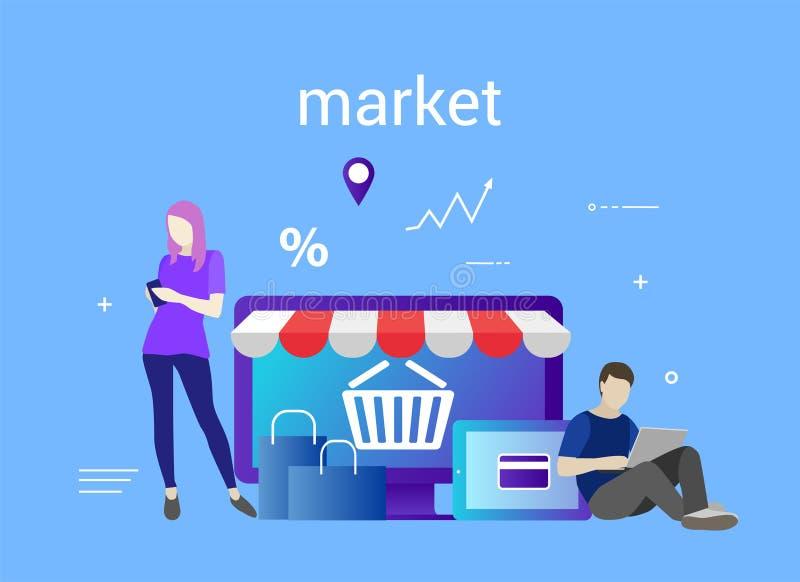 Płaski projekta sztandar handel elektroniczny i zakupy dla strony internetowej i wiszącej ozdoby strony internetowej sprzedażny Ł ilustracja wektor