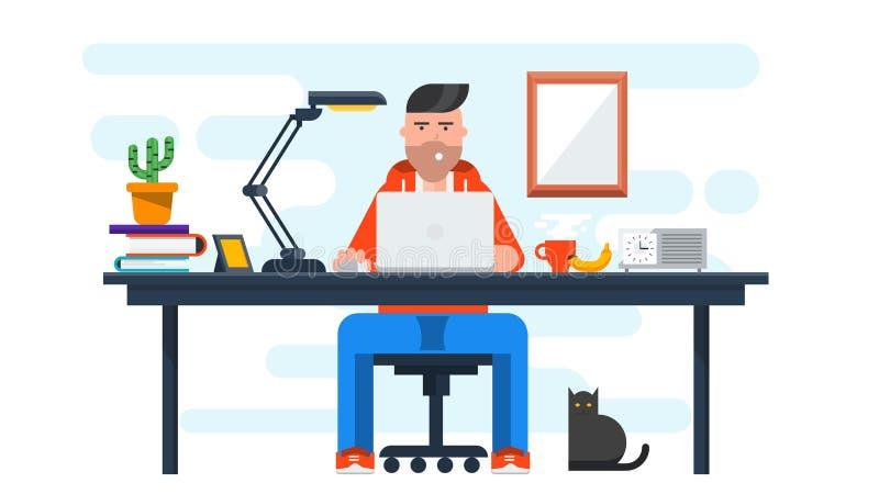 Płaski projekta sztandar Kreatywnie Workspace ilustracji