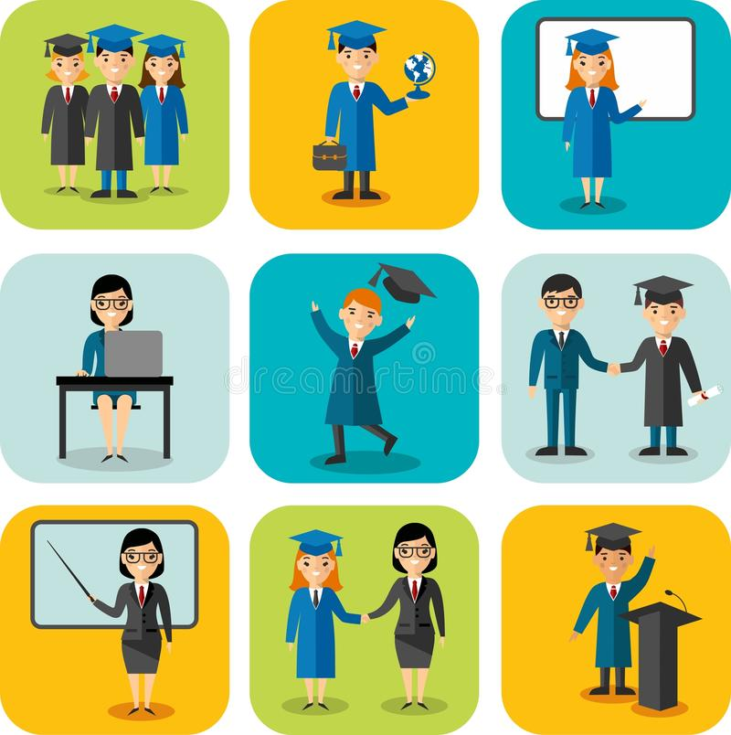 Płaski projekta uczenie pojęcie dla edukaci z absolwentami, nauczyciele ilustracja wektor