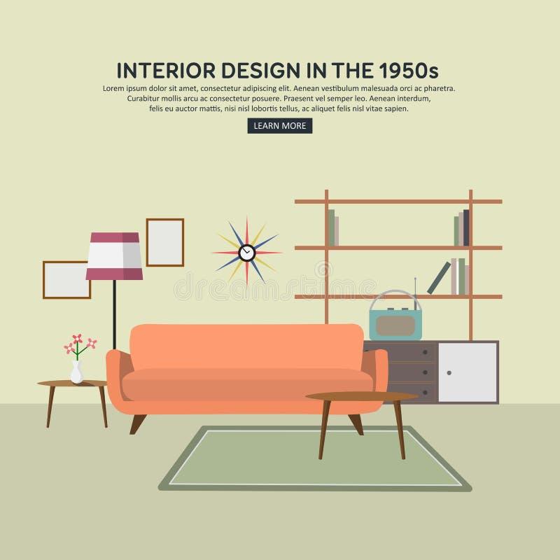 Płaski retro wewnętrzny żywy pokój ilustracji