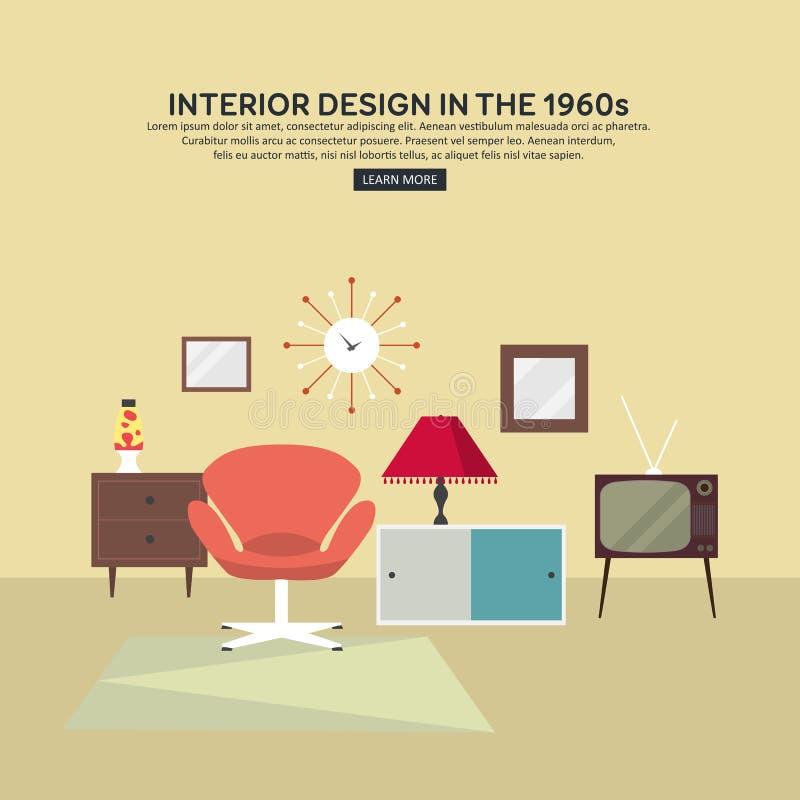 Płaski retro wewnętrzny żywy pokój 1960s royalty ilustracja