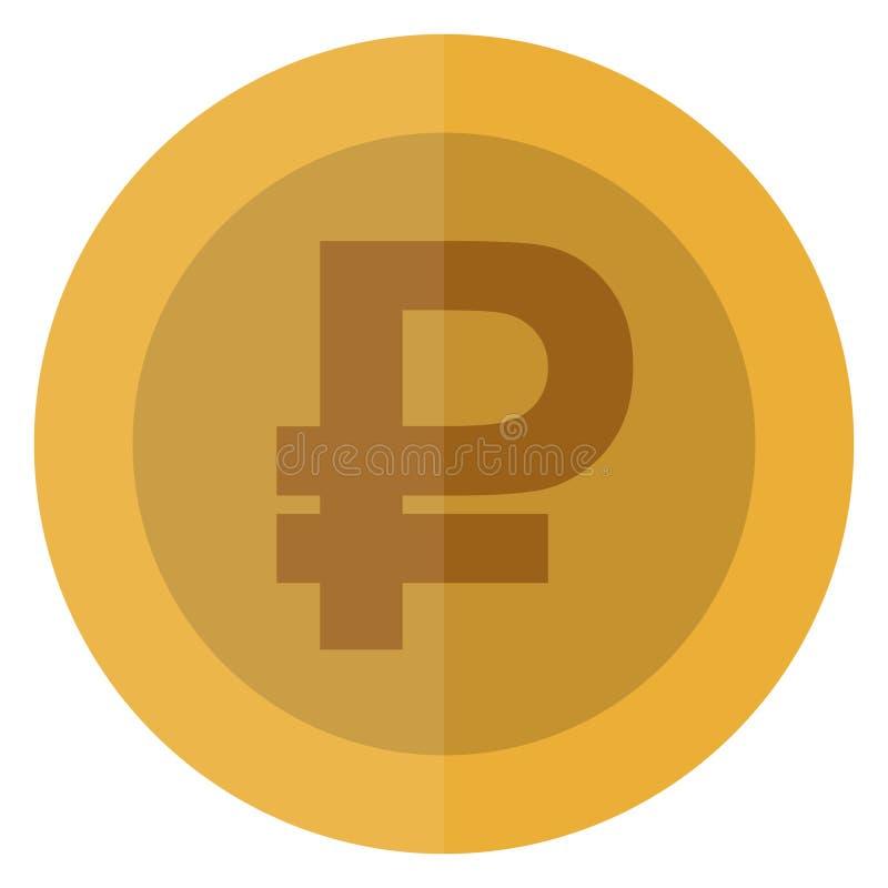 Płaski rubel, rubel waluty round moneta Rosja Kasynowa waluta, uprawia hazard monetę, wektorowa ilustracja odizolowywająca na bia ilustracja wektor