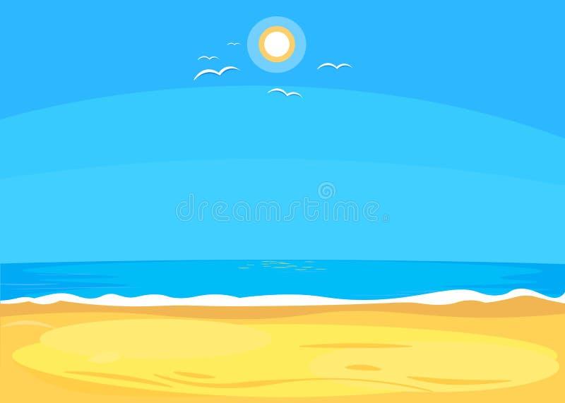 Płaski Seascape, kreskówka styl wektor royalty ilustracja