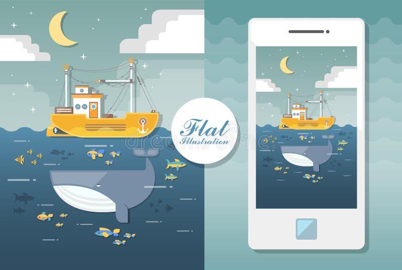 Płaski seascape z łodzią i wielorybem Płaska ilustracja ilustracji