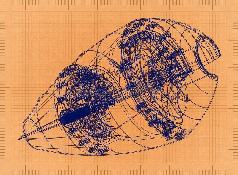 Płaski silnik - Retro projekt ilustracji
