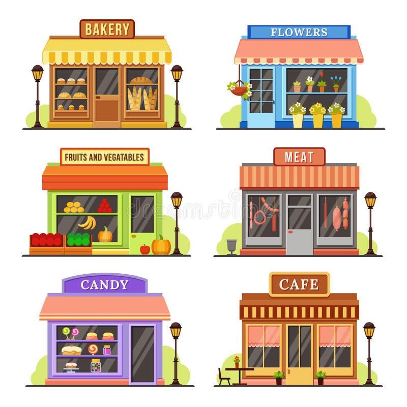 Płaski sklep Nowożytny sklep, butika shopfront i restauracja fasadowy projekt, Robić zakupy prowiantowego kreskówki ilustraci set ilustracji